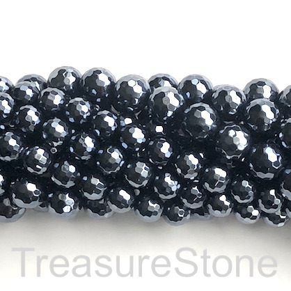 Bead, black onyx, 12mm faceted round, plated. 15.5-inch, 32pcs