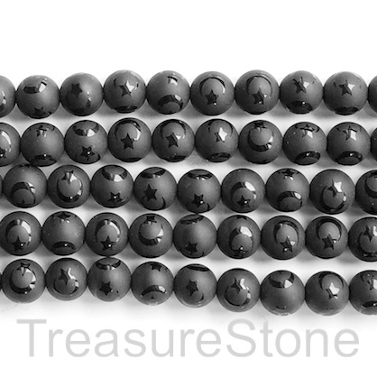 "Bead, frost black onyx, matte, 8mm round, moon,star.15.5"", 48pcs"