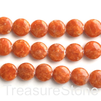 Bead, orange calcite, 18mm puffed coin, 16-inch, 28pcs