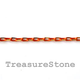 Chain,brass, orange-gold finished,2x4mm rectangle.Pkg of 1 meter