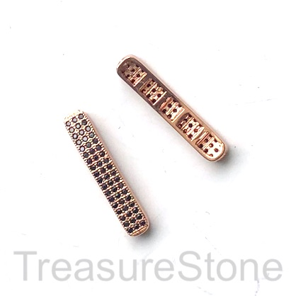 Micro Pave Bead,brass, rose gold, black cz,4x26mm curved bar. Ea