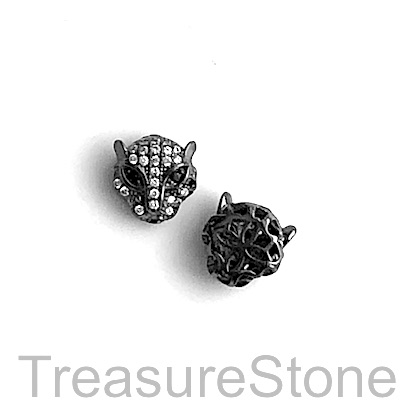 Micro Pave Bead, brass, black, 11mm cheetah, panther, Each