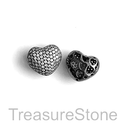 Micro Pave Bead, brass, black, 10x12mm heart. Each