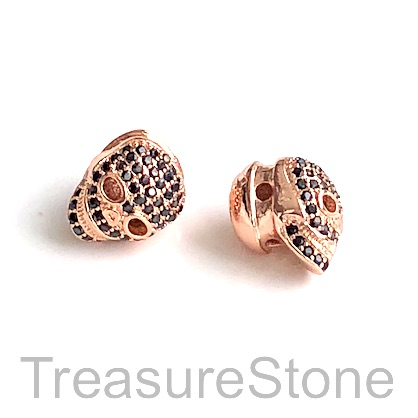 Micro Pave Bead,11mm skull rose gold, brass, Cubic Zirconia Each