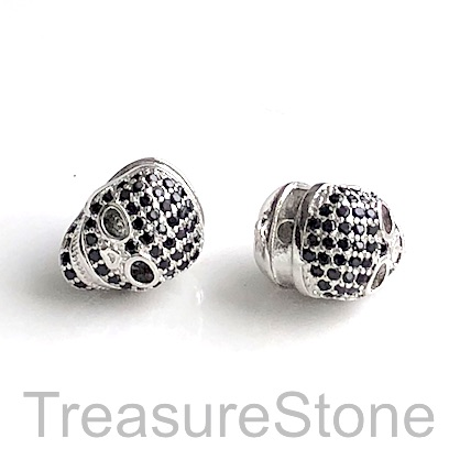 Micro Pave Bead, 11mm skull, silver, brass, Cubic Zirconia Each