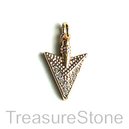 Charm, brass, 14mm gold arrow head, Cubic Zirconia. Each