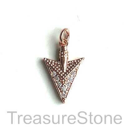 Charm, brass, 14mm rose gold arrow head, Cubic Zirconia. Each