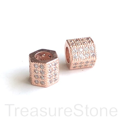 Pave Bead, 8mm, 6 side tube,rose gold brass,clear CZ.hole 5mm,ea