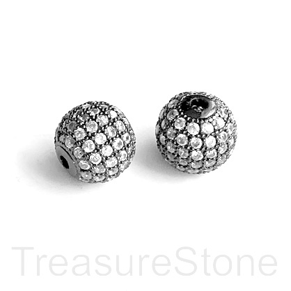 Micro Pave Bead, black brass, clear CZ, 8mm round. Each