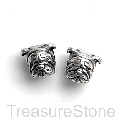 Bead, brass, antiqued silver, 12mm bulldog, dog. Ea