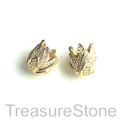 Bead, brass, 11x14mm gold tulip with crystals. Each