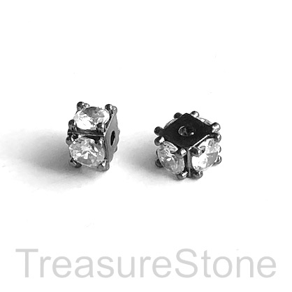 Bead, brass, 5x9mm black cube with clear CZ. Each