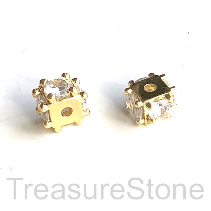 Bead, brass, 5x9mm gold cube with clear CZ. Each