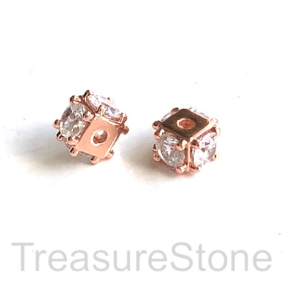 Bead, brass, 5x9mm rose gold cube with clear CZ. Each
