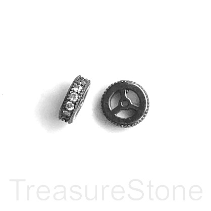 Micro Pave Bead, black brass, clear CZ, 8x2mm disc. Ea