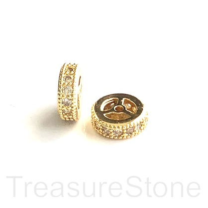 Micro Pave Bead, gold brass, clear CZ, 8x2mm disc. Ea