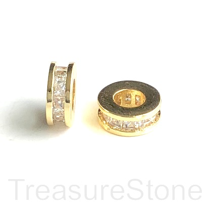 Micro Pave Bead, gold brass, clear CZ, 9x3mm disc 3. Ea