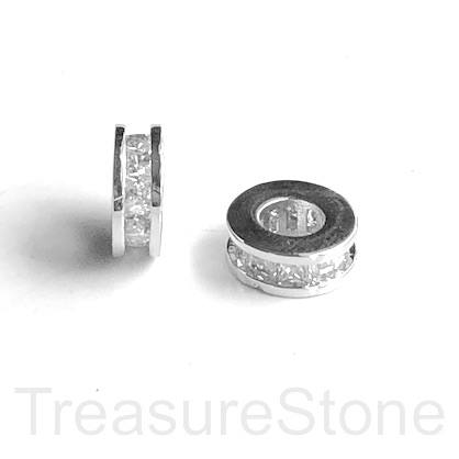 Micro Pave Bead, silver brass, clear CZ, 9x3mm disc 3. Ea