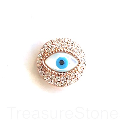 Bead, brass, 15mm rose gold evil eye with clear CZ. Each