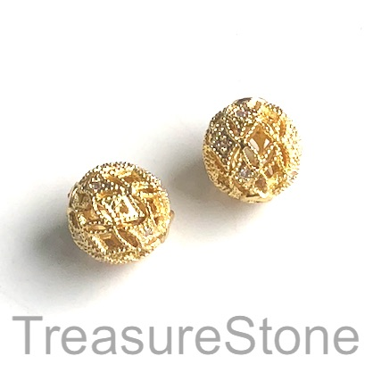 Micro Pave Bead, gold, 10mm filigree round, brass. Ea