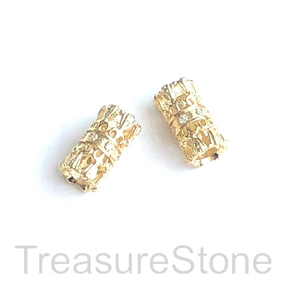 Micro Pave Bead, brass, gold, 7x14mm tube. Each