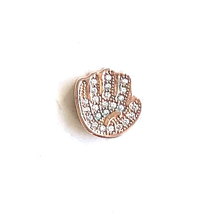Bead, brass, 12mm rose gold hand with clear CZ. Each