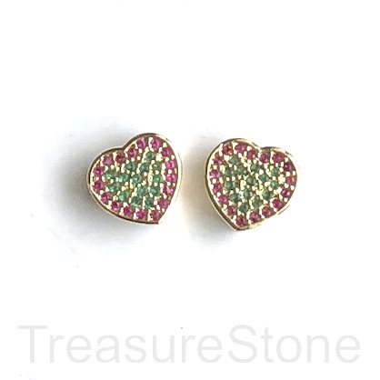 Micro Pave Bead, gold brass, purple, green CZ, 1omm heart. Ea