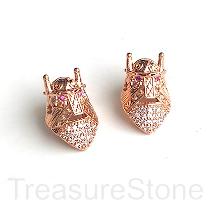 Bead, brass, 10x15mm rose gold warrior helmet with crystals. Ea