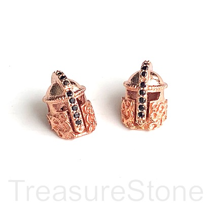 Bead, brass, 11mm rose gold warrior helmet with crystals. Each