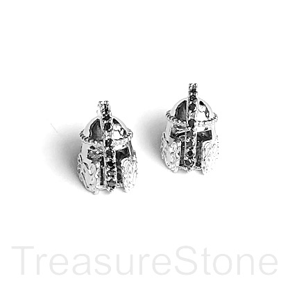 Bead, brass, 11mm silver warrior helmet with crystals. Each