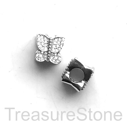 Pave Bead, 10x9mm, silver, butterfly, large hole, 4mm. Ea