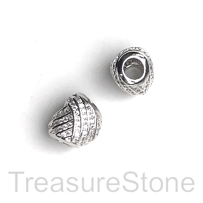 Pave Bead, 12x10mm, silver, heart, large hole, 4mm. Ea