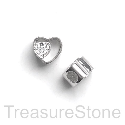 Pave Bead, 11mm, silver double heart, large hole, 4mm.Ea