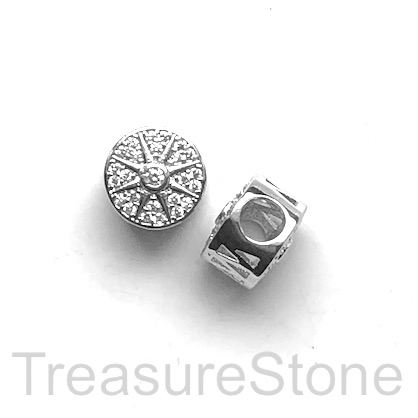 Pave Bead, 11x8mm, silver, cz, sun, large hole, 4mm. Ea