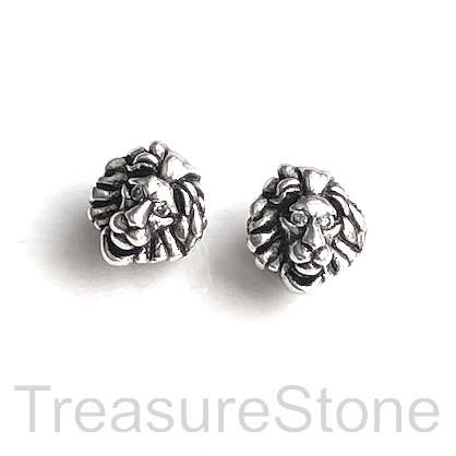 Bead, brass, antiqued silver, 10mm lion head. Ea
