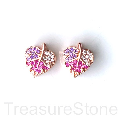 Bead, brass, 10x12x8mm maple leaf, color CZ, large hole, 4mm. Ea