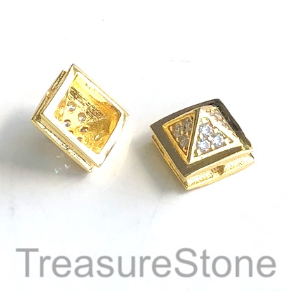 Micro Pave Bead, brass, gold, 7x10mm pyramid. Each