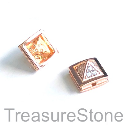 Micro Pave Bead, brass, rose gold, 7x10mm pyramid. Each