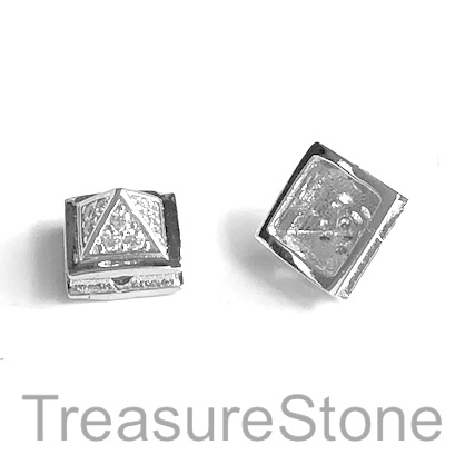 Micro Pave Bead, brass, silver, 7x10mm pyramid. Each