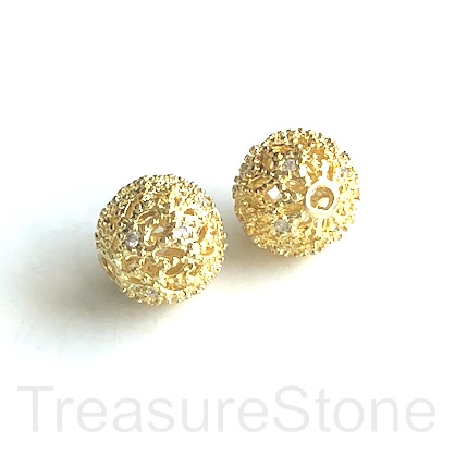 Micro Pave Bead, gold, 10mm filigree round, brass, CZ. Ea