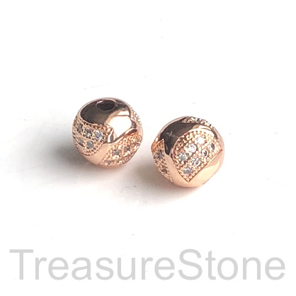 Micro Pave Bead, brass, rose gold, 8mm round. Each