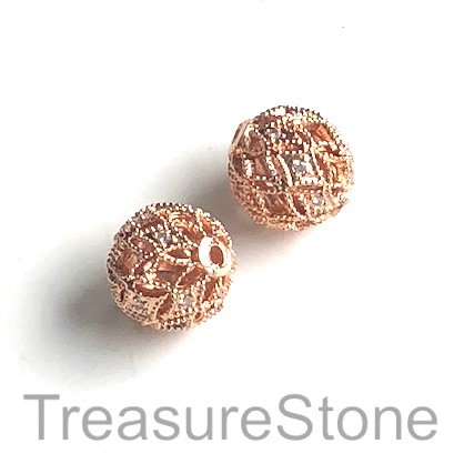 Micro Pave Bead, rose gold, 10mm filigree round, brass. Ea