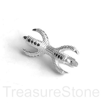 Micro Pave Bead, silver brass, black CZ, 12x24mm. Ea