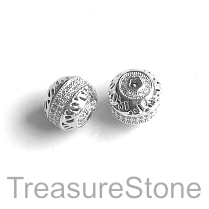 Micro Pave Bead, brass, silver, 11x12mm. Each