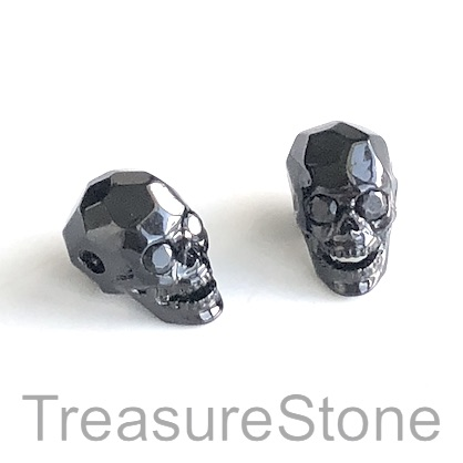 Bead, brass, 8x13mm skull with crystals. ea