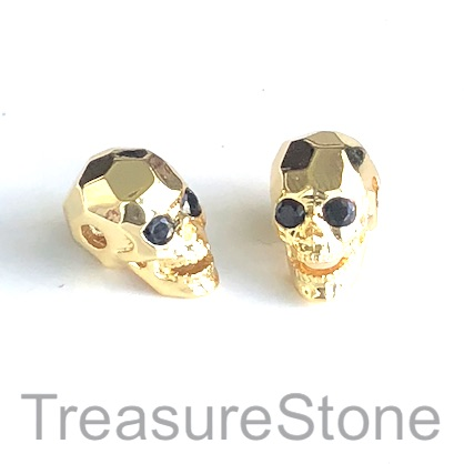 Bead, brass, gold, 8x13mm skull with crystals. ea