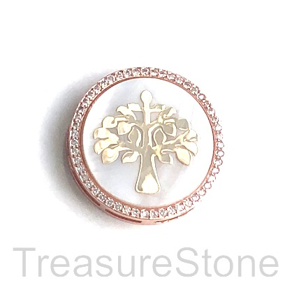 Pave Bead, brass, rose gold, MOP, 25mm Tree of Life. Ea