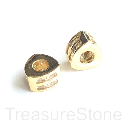 Pave Bead, gold, 6x9mm triangle tube, Brass, CZ, hole, 4mm. Ea