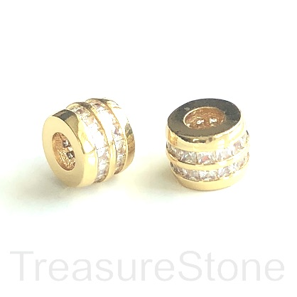 Pave Bead, gold, 8x10mm tube, Brass, CZ, hole, 4.5mm. Ea