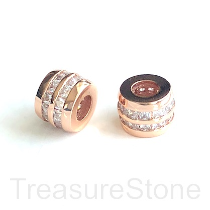 Pave Bead, rose gold, 8x10mm tube, Brass, CZ, hole, 4.5mm. Ea